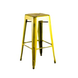 Distressed Yellow Barstool Rental