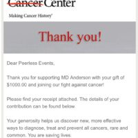 Thank You Peerless MD Anderson Fundraiser