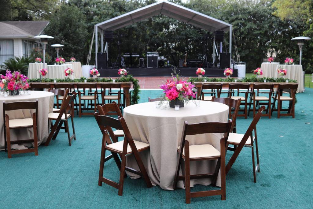 Dining Table on Custom Flooring at Sweet August San Antonio Backyard Wedding